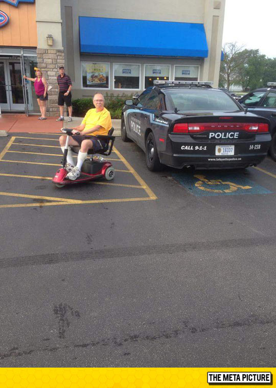 The Cop Obviously Has Parkingson's Disease