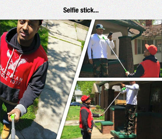 When You're Poor And Need A Selfie Stick