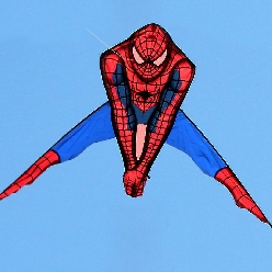 A Spiderman kite that is way too explicit to be flying around the park. WTF, Spiderman!