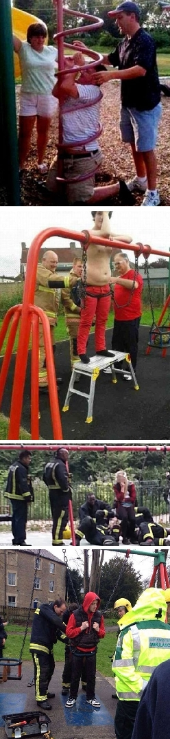 Adults Stuck In Playground Equipment
