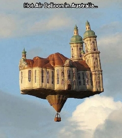 Inflatable castle in the air