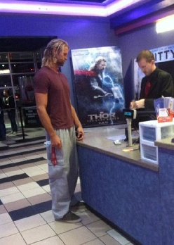Today I saw Thor buying a ticket for Thor