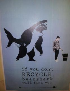 You better be recycling, because Sharkbear doesn't play around.