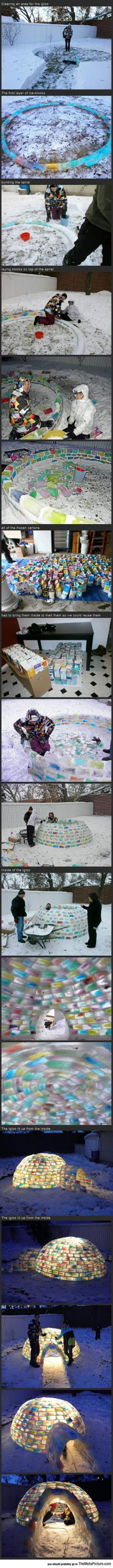 Building A Coloured Ice Igloo