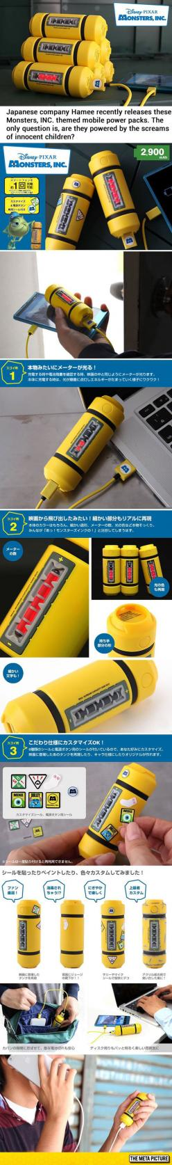 Monster, Inc. Themed Mobile Power Packs. I Wonder What Are They Powered By?