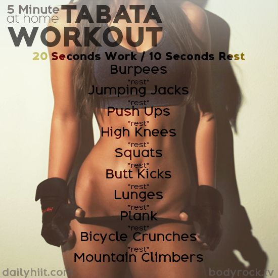 A Tabata is a high-intensity workout protocol that has fitness and weight-loss benefits. It is also a very short workout with completing 20 seconds of a certain CrossFit style exercise, followed by a 10 second rest period. Similar to HIIT, Tabata has beco
