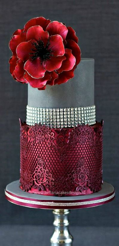 Birthday Cake: Lace Cakes, Grey Wedding, Cake Design, Amazing Cakes, Red Cake, Wedding Cakes, Beautiful Cakes, Gorgeous Cake, Was