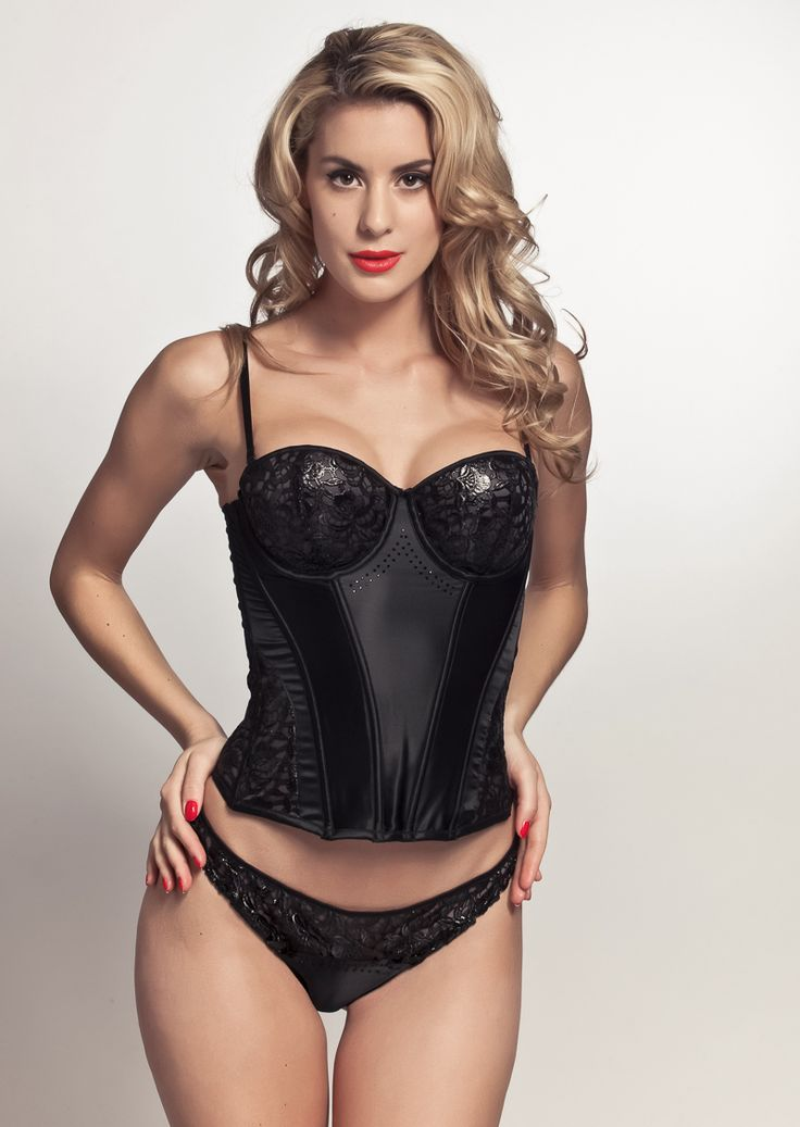 Coco Anne Bustier: Anne Thong, Lingerie, Couture, Black Laces, U.S. States, Black Satin, Swarovski