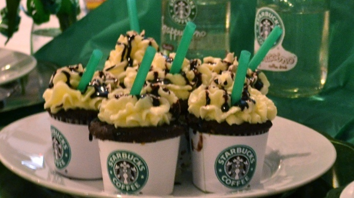 Double choco chip Frappacino  cupcakes   Ingredients  1 (18.25 ounce) package devil's food cake mix (I'm a Duncan Hines fan, personally, but use what you like best.)  1 (5.9 ounce) package instant chocolate pudding mix  1 cup sour cream  1 cup vegetable o