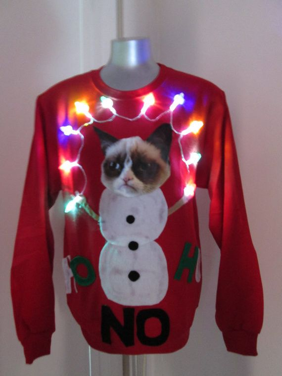 Light-Up Grumpy Cat Sweater: Ugly Sweater, Funny Christmas Sweater, Christmas Sweaters, Grumpy Cat, Cat Christmas Sweater, Funny Ugly Christmas Sweater, Ugly Christmas Sweater Cat