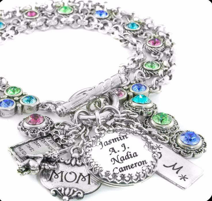 Mother's Gifts, Personalize Jewelry with Childrens Names, Birthstone Gifts for Mom, Birthstone Jewelry for Grandma - Blackberry Designs Jewelry: Charm Bracelets, Mothers Bracelet, Grandmothers, Mother S Bracelet