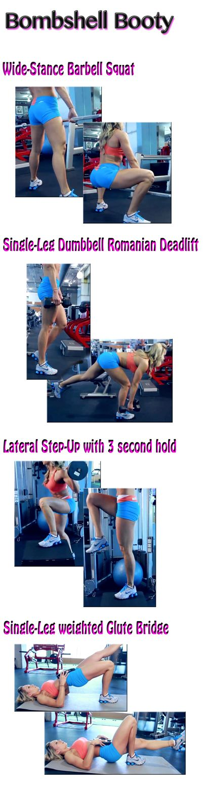 The Bombshell Booty Workout -- Give yourself a lift and tone. Don't let the cold weather keep you from looking good in those jeans. Get more workouts: www.flaviliciousfitness.com #ButtWorkout #Glutes #Exercise: Gym Glute Workout, Bombshell Booty, Gym
