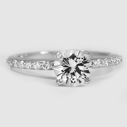 18K White Gold Sapphire Petite Shared Prong Diamond Ring // Set with a 6.5mm White Round Sapphire #BrilliantEarth: