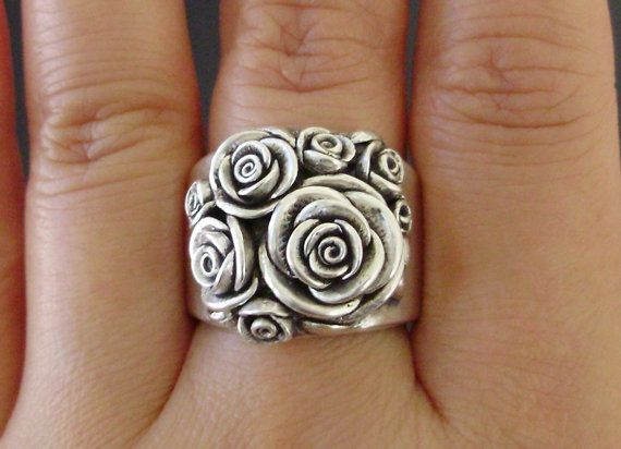 A Bouquet of Roses - Handsculpted, Cast Sterling Silver Wide-Band Ring - Ready to Ship (Sizes 7.5 to 8) $315: Style, Bouquet Of Roses, Jewelry, Sterling Silver Rings, Roses Handsculpted, Rose Rings, Silver Rose