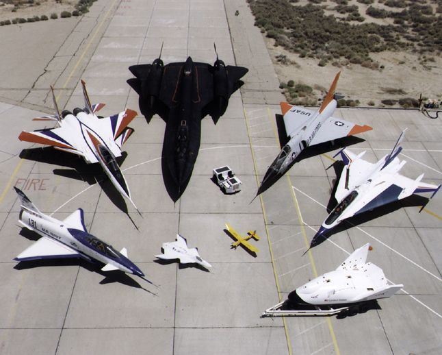 A collection of NASA's research aircraft on the ramp at the Dryden Flight Research Center in July 1997: X-31, F-15 ACTIVE, SR-71, F-106, F-16XL Ship #2, X-38, and X-36.: Aviation, Nasa, Military Aircraft, Airplane, Aircraft Fleet, F 15 Active, Photo,