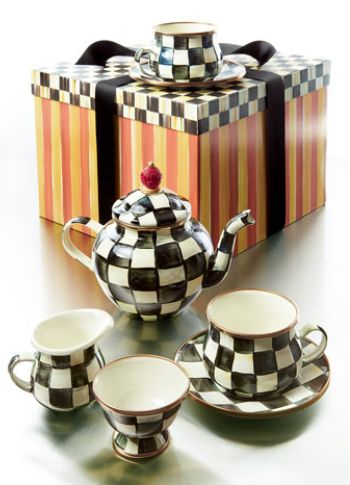 Adorable Checkered Teapot Set http://rstyle.me/~34gRe: Mackenzie Childs Courtly, Tea Pot, Check Enamel, Check Teapot, Awesome Teapots, Checkered Tea