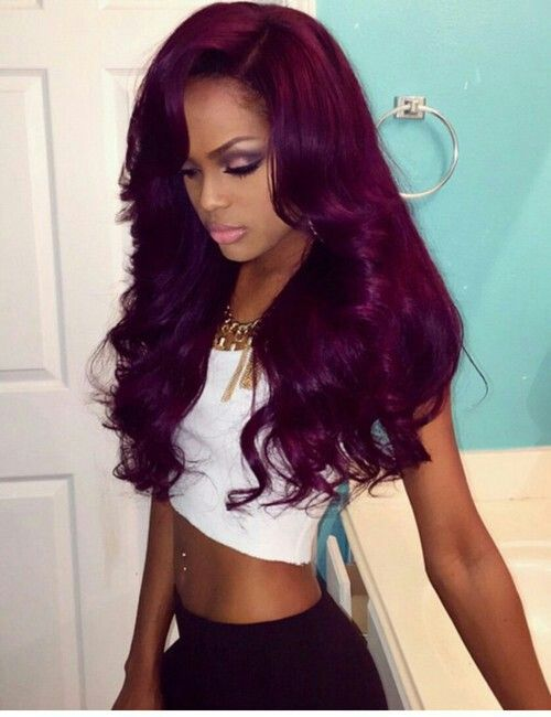 "Affordable luxury 100% virgin hair starting at $55/bundle in the USA. Achieve this look with our luxury line of Brazilian Body Wave hair extensions, available in lengths 12"" - 28"". www.vipextensionbar.com email info@vipextensionbar.com: Purple Wea"
