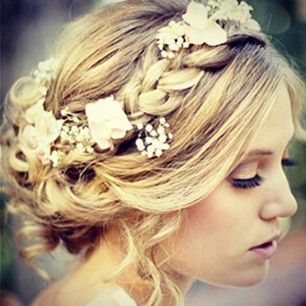 All The Boho Wedding Inspiration You Could Possibly Need   Hair   Flowers bridesmaid dresses, sequin bridesmaid dresses: Weddinghair, Hairstyles, Wedding Ideas, Weddings, Hair Style, Updo, Flower