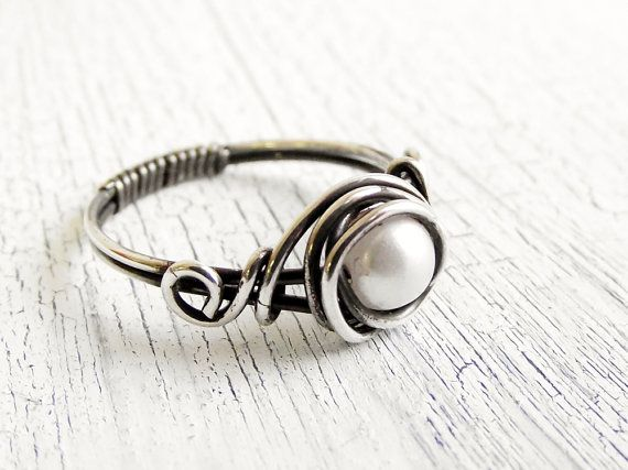 Antiqued Sterling Silver Pearl Ring Wire Wrapped Ring, Bridal Jewelry, Fresh Water Pearl: Silver Pearl, Pearl Rings, Wire Wrapped Rings, Sterling Silver, Water Pearl