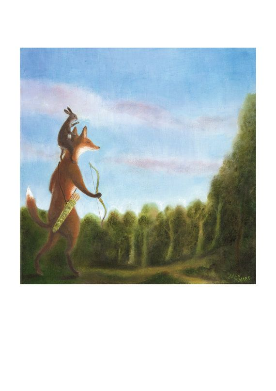 """Art Print of an Original Animal Painting: """"Searching for the Healing Sun"""" by TheLitusGallery: Dixit Art, Animal Paintings, Healing Sun, Fantasy Art, Art Prints, Foxy Art"""