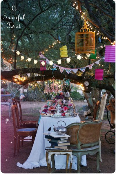 As the sun sets, lights flicker, and parties continue with glee...a bohemian themed midsummer night wedding reception. Very Intimate and Lovely: Tea Party, Lights Flicker, Wedding Reception, Bohemian Themed, Mad Tea Parties, Party Ideas, Night Wedding