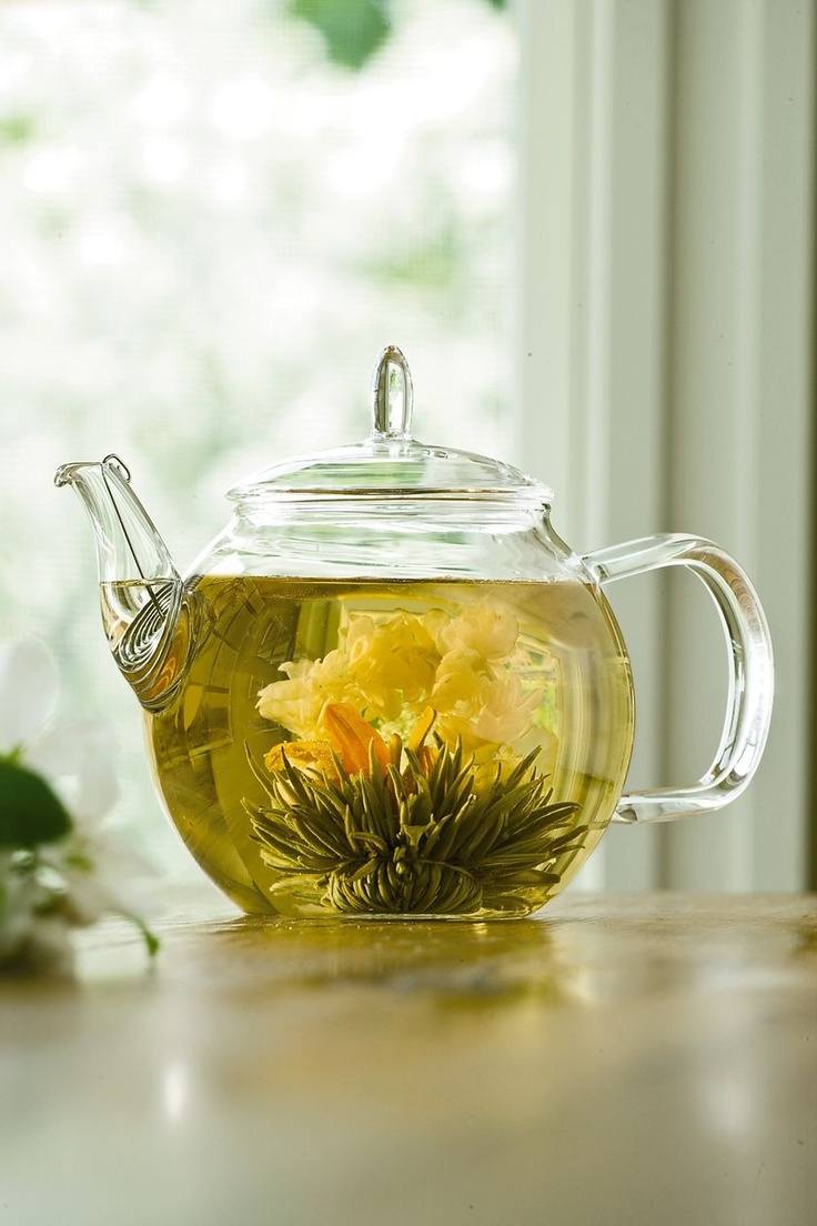 """Blooming Tea Set for joseph: A Bouquet of Tea Blooms in Your Teapot    A surprising and delightful gift for tea drinkers and gardeners alike!  Tea balls """"bloom"""" into beautiful flowers as they steep into a fragrant tea  Set includes a 24-oz. glass"""