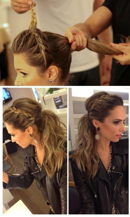 Braided pony. WEDDING PONY. It's so me. I always have my hair in a pony tail and that way I don't have to worry about losing curl: Pony Tail, Hairstyles, Hair Styles, Hairdos, Hair Do, Updos, Braided Ponytail