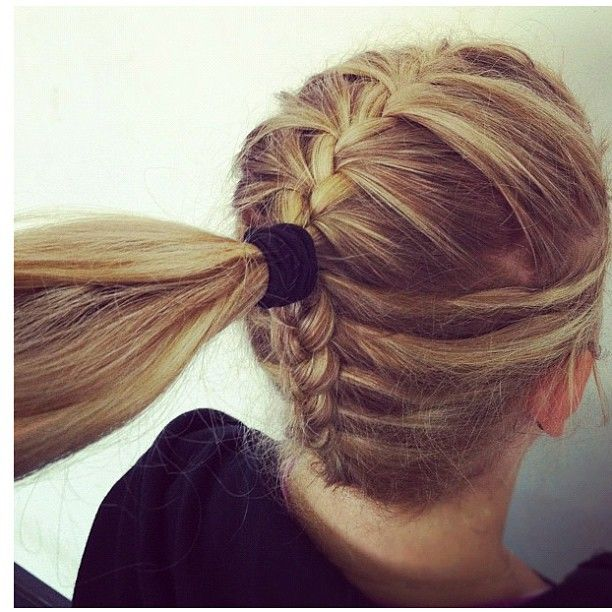 Could totally do this with a bun and it would be so cute. I'm definitely going to do this for school sometime.: Pony Tail, Idea, Double Braid, Hair Styles, French Braid Ponytail, Double French Braids, Braided Ponytail Hairstyles