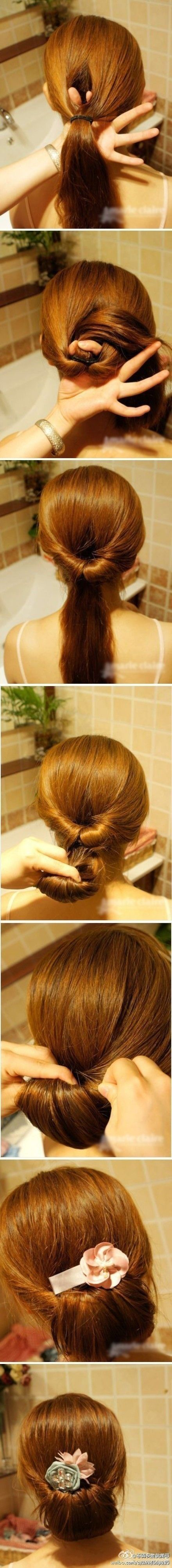 Cute bun: Hair Ideas, Hairstyles, Hairdos, Hair Styles, Makeup, Hair Tutorial, Hair Do, Updos, Easy Updo