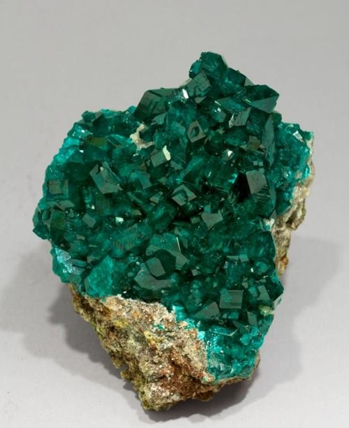 Dioptase with Calcite from Namibia |  Buy # natural #gemstones online at mystichue.com: Crystals Minerals Gemstones, Fabre Mineral, Crystals Minerals Gems Fossils, Color, Minerals Crystals, Photo, Rocks Gemstones Minerals
