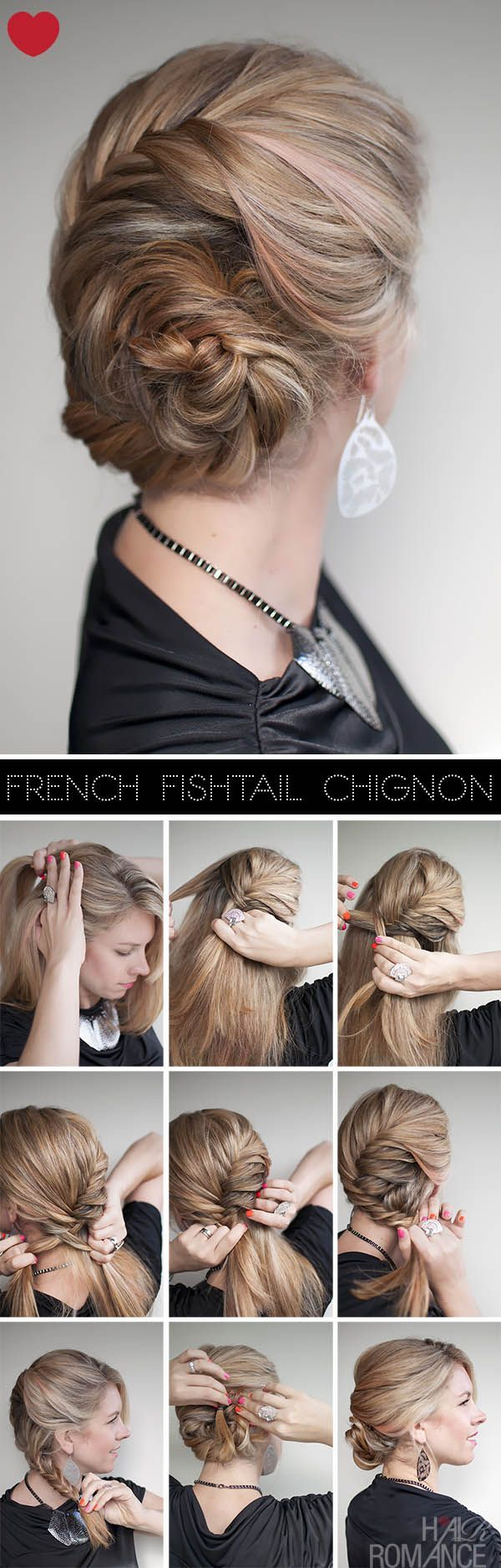 DIY Hair Style French fishtail chignon - someday I'll learn how to do my own hair like this.: Hair Diy, Hair Tutorial, Easy Braided Hairstyles, Hair Style, Diy Hairstyles Easy, Diy Easy Hairstyles