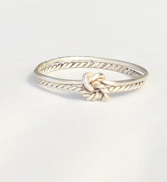 Double knot ring, double infinity knot, sterling silver love knot ring: Love Knot Ring, Knot Promise Ring, Sterling Silver Ring, Knot Rings, Simple Promise Ring, Infinity Promise Rings, Bridesmaid Gift