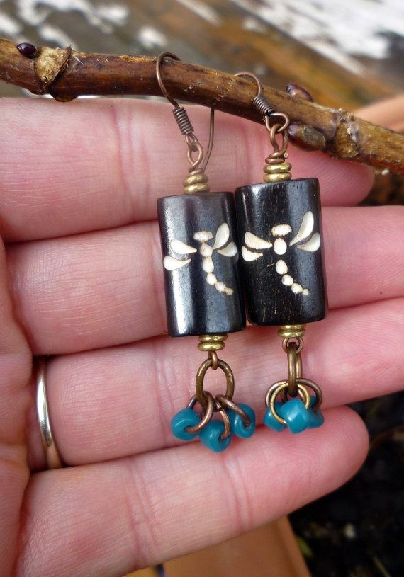Dragonfly wood earrings Teal Coconut beads by McKeeJewelryDesigns, $16.00: Bead Jewelry Ideas, Dragonfly Bead, Ajewelry Earrings, Dragonfly Craft, Earrings Dragonfly, Dragonfly Earrings, Dragonfly Gift Ideas