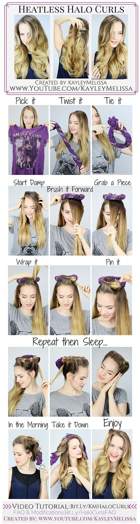 Easy Heatless Curls / Waves! These are so smooth and soft! + They look like they were done with a curling iron! Created by KayleyMelissa (youtube.com/KayleyMelissa): Diy Curly Hairstyles, Tshirt Curl, Curling Iron Hairstyles, Curled Hair Hairstyles, Heatl