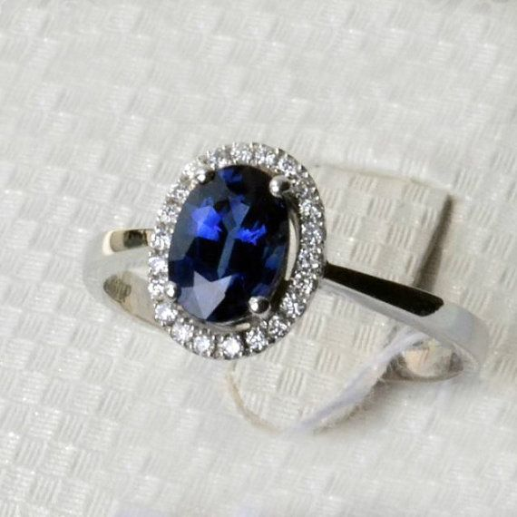 Engagement Ring  1.8 Carat Sapphire Ring With by stevejewelry, $1850.00 Not really my style, but it is very pretty!: Sapphire Rings, Style, Blue Sapphire, 2 Carat, Sapphire Engagement Ring, Carat Sapphire, Ring 1 8, Engagement Rings