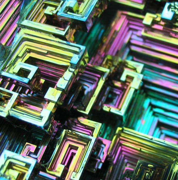 Extremely colorful bismuth crystals.: Orange, Purple, Blue Brown, Color, Green, Bismuth Crystals, Pink, Gold, Minerals