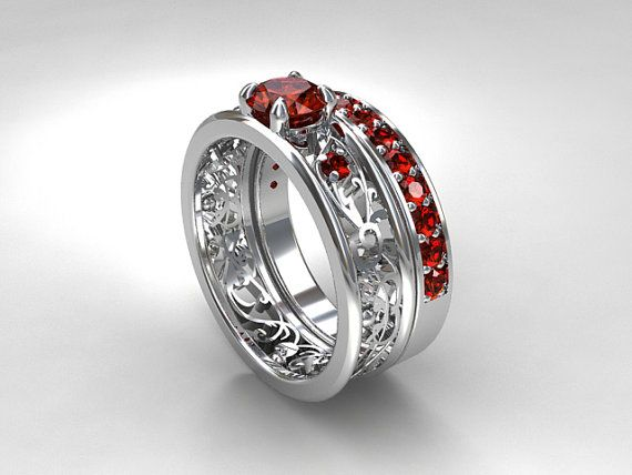 Filigree engagement ring set with Red Sapphires by TorkkeliJewellery on Etsy, $3689.00: Diamond Rings Engagement, Filigree Ring, Filigree Engagement Ring, Ring Engagement, Red Sapphire, Engagement Rings, Ideal Rings