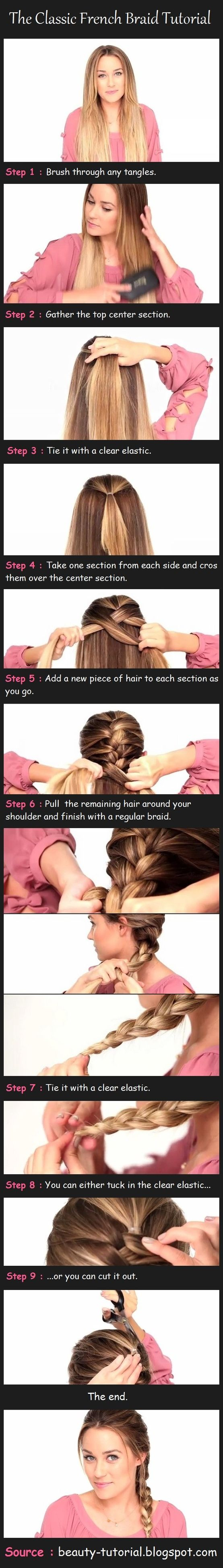 French Braid - never though of doing a small ponytail to start with!!!: French Braids, Frenchbraid, Hair Styles, Hairdos, Hair Tutorial, French Braid Tutorial, Hair Do, Hairstyle, Classic French