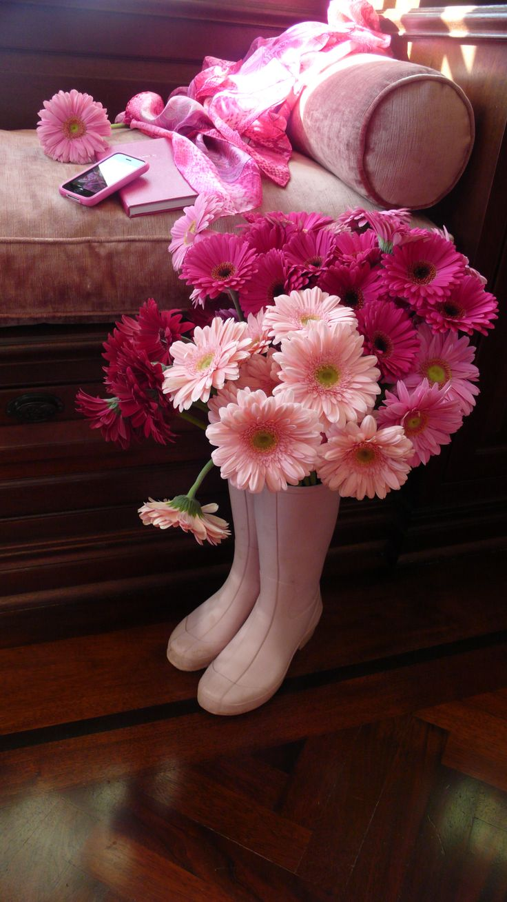 Gerber Wellies by Slim Paley: Rosa Pink, Flowers All Pink, Tickled Pink, En Rose, Beautiful Flowers, Ana Rosa, Daisies Flowers Butterfly S, Pink Daisy