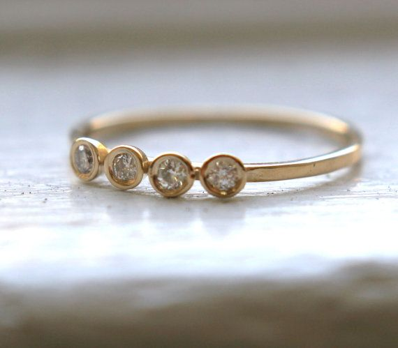 Gold RIng with 4 Diamonds: 14K Yellow, Yellow Gold, Diamond Rings, Gold Rings, Wedding Bands, Engagement Rings
