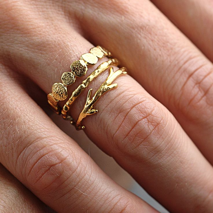 Gold Twig Ring - so cute for stacking: Gold Stack, Stacked Rings, Twig Ring, Gold Rings, Stacking Rings, Dainty Ring