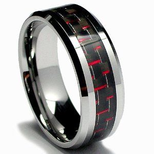 Google Image Result for http://media.offbeatbride.com/wp-content/blogs.dir/6/files/2011/01/blackand-red-Mens-Tungsten-Carbide-Ring.jpg: Wedding Ring, Wedding Band, Tungsten Carbide, Rings, Carbon Fiber, Fiber Inlay