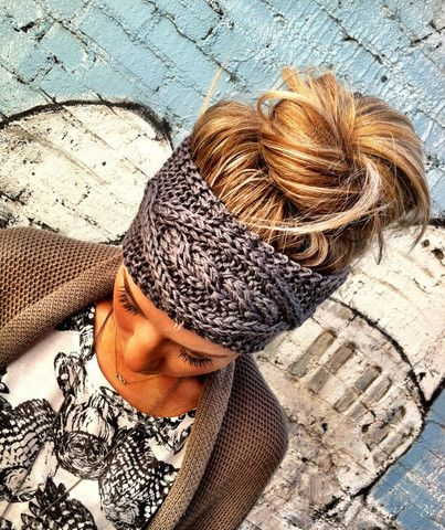 Gray Cable Knitted Headband Ear Warmer Pinterest Favorite!   three bird nest - Need for winter!: Messy Bun, Hairstyle, Head Band, Hair Color, Knit Headband, Knitted Headband