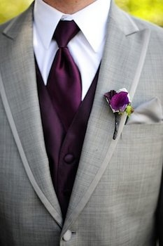 Gray suits for my man and his friends. But no vest or tie. Suspenders and a black bowtie. :): Wedding Ideas, Purple Wedding, Dream Wedding, Groom, Weddingideas