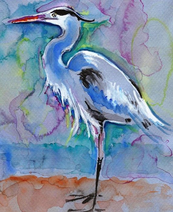 Great Blue Heron-- Watercolor by Teri Kman -- NoisefromtheNest.Blogspot.com: Watercolor Painting Birds, Bird Paintings, Blue Heron Art, Animal Paintings, Blue Heron Paintings