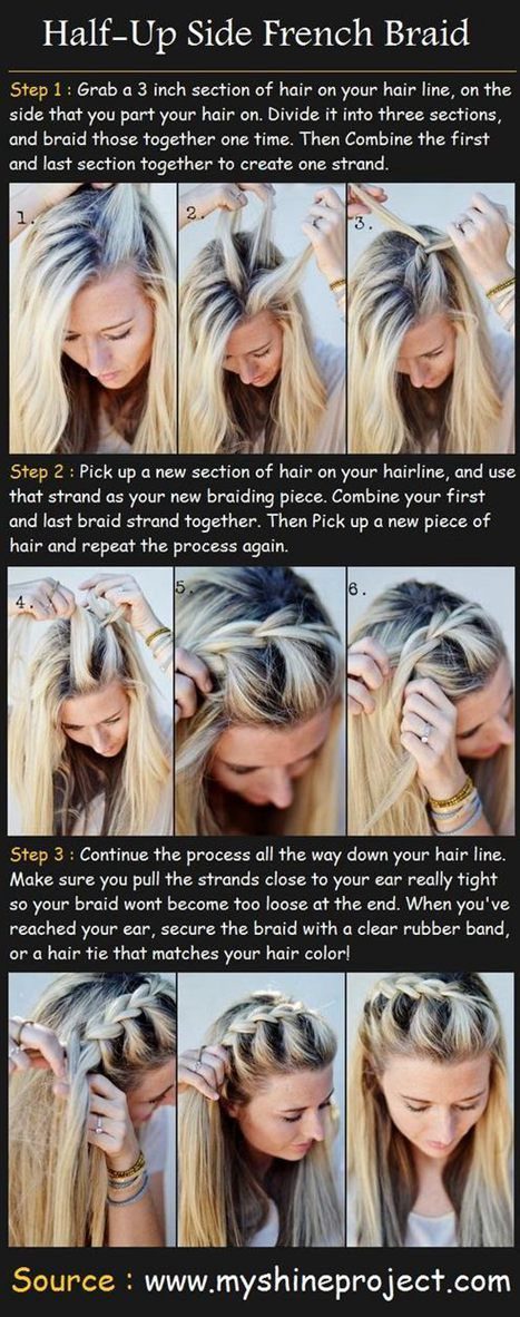 hair tutorials for long hair styles.....wedding ideas!: Hairstyles, Frenchbraid, Hair Styles, Hairdos, Half Up Side, Side French Braids