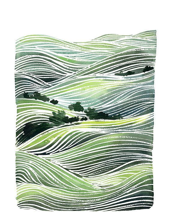 Handmade Watercolor Archival Art Print Landscape by YaoChengDesign.: Green Hills, Watercolor, Rolling Hills, Art Prints, Cheng Design, Landscapes, Yao Cheng, Hills Painting