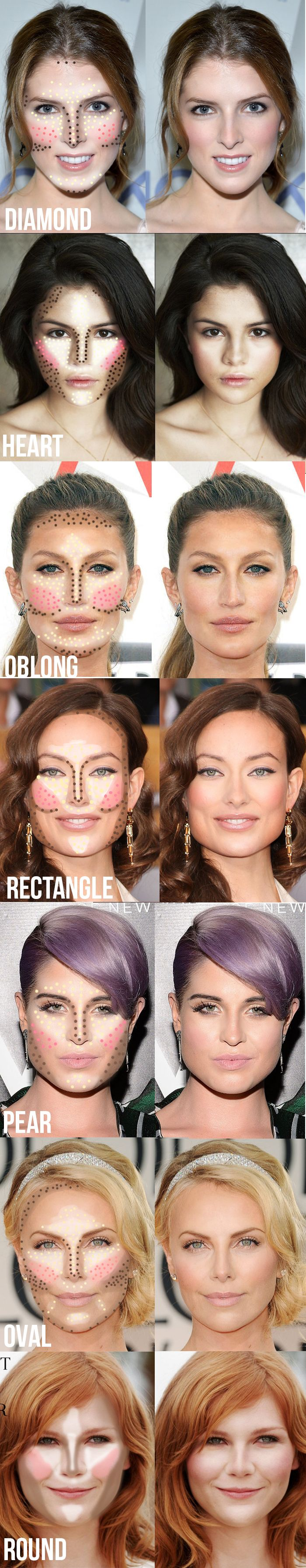 Highlighting and contouring guide for your face shape! It really makes a difference!: Make Up, How To Contour, Beauty Makeup, Face Shapes, Makeup Tips, Makeuptips, Make A Difference, Contouring Guide