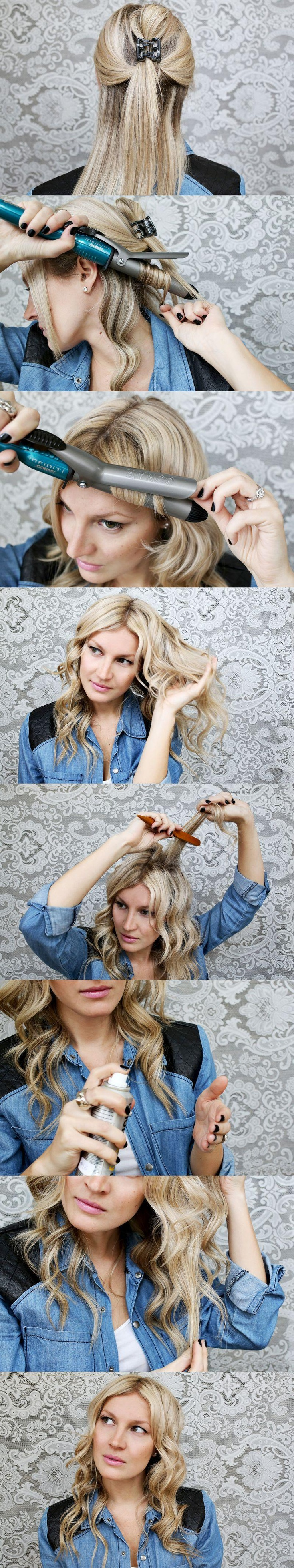 How to perfectly curl your hair! Don't forget a heat protector!: Diy Hairstyles, Curling Technique, Make Up, Idea, Hair Tutorials, Hair Styles, Makeup, Wave Hair