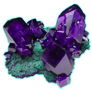 I was told that this is not Azurite crystals with Malachite, but dioptase xls and the image was photoshopped.: Amethysts, Azurite Crystal, Gems Minerals, Purple, Crystals Minerals, Rocks Crystals, Gemstones Amethyst, Crystals Gemstones